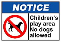 Children's Play Area No Dogs Allowed Notice 注意看板メタル安全標識注意マー表示パネル金属板のブリキ看板情報サイントイレ公共場所駐車ペット誕生日新年クリスマスパーティーギフト