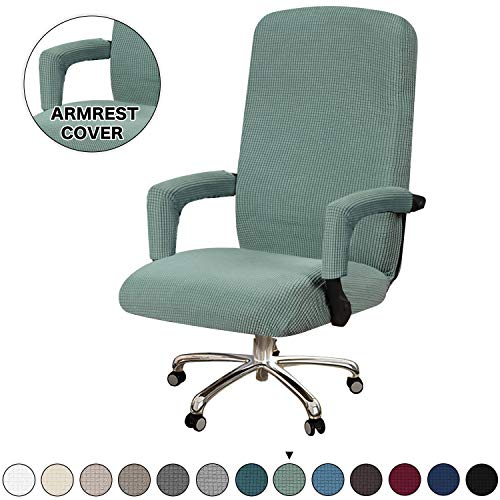 Turquoize Office Chair Cover Stretchable Chair Cover for Office Chair Computer Chair Cover Large Office Chair Cover with Armrest Covers Jacquard Boss Chair Cover High Back, Washable, Large, Dark Cyan