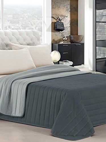 Italian Bed Linen Estivo Matrimoniale, Grigio Chiaro/Grigio Scuro, 260 x 270 cm