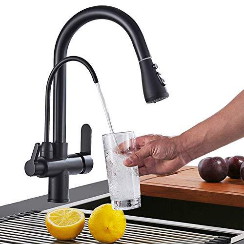 Onyzpily Schwarz Reines Wasser Küchenarmatur mit ausziehbar Doppelgriff Heißes und kaltes Trinkwasser 3-Wege-Filter Küchenmischbatterien