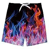 Spreadhoodie Niño Fuego Bañador Natación 3D Rosa Impresos Secado Rápido Ropa de Playa Hawaiano Pantalones Cortos con Bolsillos Laterales 10-12 Años