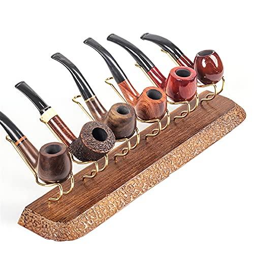 BILXXY Soporte para Pipa de Tabaco, Soporte de Madera para Tabaco, Soporte de exhibición para 6 Pipas de Fumar, Accesorios para Pipa de Madera de ala de Pollo