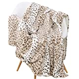 Sedona House Fuzzy Faux Fur Cheetah Throw Blanket,Lightweight Plush Cozy Soft Microfiber for Couch Travel,50 by 60-Inch,Brown Sand Leopard