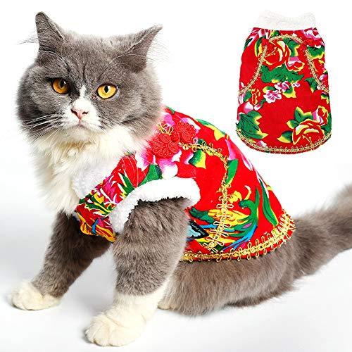 HD2DOG Hond Kat Bloem Jas Vest, Herfst Winter Winddicht Nylon Jas met Handgemaakte Chinese Knoop & Gouden Kant Trim XTM110 M Rood