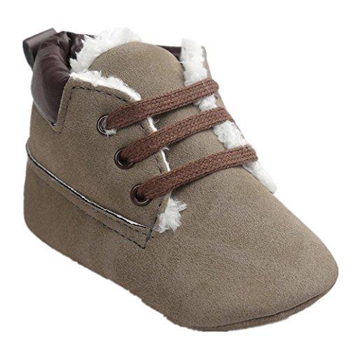 Babyschuhe Longra Baby Jungen Kleinkind Winter weiche Sohle Leder Stiefel Lauflernschuhe Krippeschuhe Schneestiefel (0~18 Monate) (12CM 6-12 Monate)