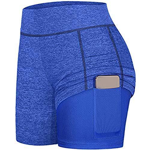 HULKY Damen 2 in 1 Sport Shorts Yoga Shorts Laufshorts Fitness Trainingsshorts Stretch Tennis Shorts mit Inner Pockets(Blau,S)