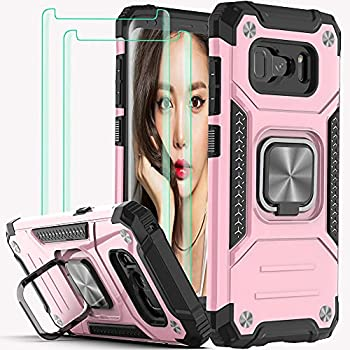 Galaxy S8 Plus Case,with 3D Curved Screen Protector[2 Pack],YmhxcY Armor Grade with Rotating Holder Kickstand Non-Slip Hybrid Rugged Phone Case for Samsung Galaxy S8 Plus 6.2 inch-Rose Gold