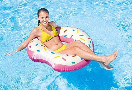 Lustiger Donut - bunt - Badering Schwimmring Schwimm Ring Schwimmreifen Reifen Swim Ring Schwimmreifen aufgeblasen ca. 107 x 99 cm, PVC Folie ca. 0,25 mm super Schwimmspass Kinder Spass