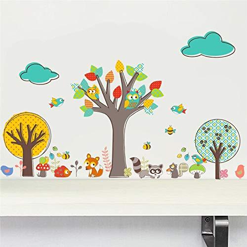 132 * 80cm färgglada skogsträd djungeln djur ugglor vägg klistermärken för barn rum sjuksköterska barn sovrum inredning vägg decal väggmålning affisch
