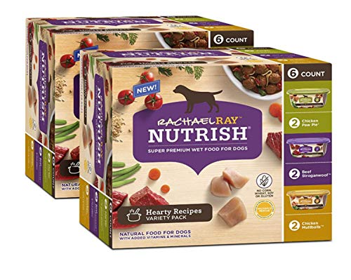 Rachael Ray Nutrish Premium Natural Wet Dog Food, Hearty Recipes Variety Pack, 8 Ounce Tub (Pack of 12)