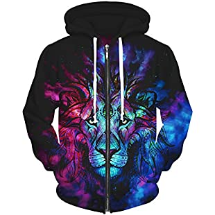 Eudolah Men's Multi-Coloured Hoodie Jacket with Hood - Multicolour - Medium