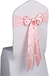 HuntGold Satin Chair Sash Bow Ties Chairs Cover Decor fit for 70-100cm Solid Color for Banquet Wedding Party Ready Made -Pink