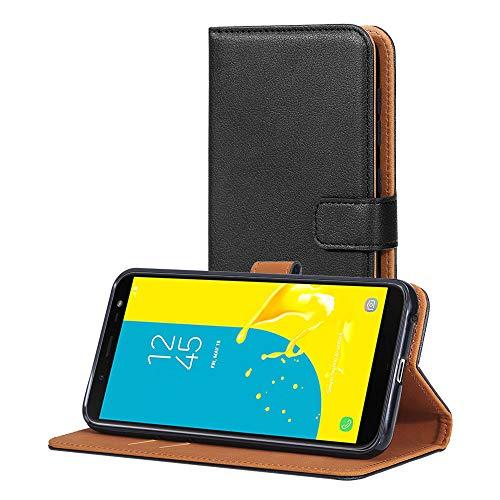 AICEK Hülle Kompatibel mit Samsung Galaxy J6, Lederhülle für Samsung Galaxy J6 Schutzhülle PU Leder Klapphülle mit Kartenfach Ständer Magnet Funktion Schwarz (5,6 Zoll)
