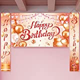 Happy Birthday Banner, Geburtstag Party Dekorationen, Groß Rose Gold Geburtstagsbanner, Geburtstag Banner Hintergrund Willkommen Veranda Zeichen, Eingangsdekoration für Geburtstagsfeier