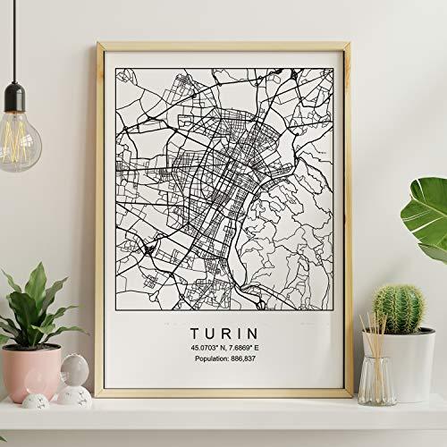 Nacnic Lámina Mapa de la Ciudad Turin Estilo nordico en Blanco y Negro. Poster tamaño A3 Sin Marco Impreso Papel 250 gr. Cuadros, láminas y Posters para Salon y Dormitorio