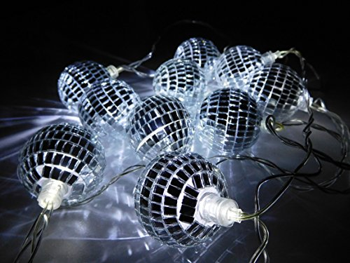 Christmas Concepts 10 White LED Disco Mirror Ball Lights - 2 Metre Length - Mains Operated - Retro - Party/Garden Lights.