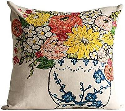 Amazon.com: Funda de almohada de algodón y lino cuadrado ...