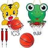 Basketballkorb Indoor Kinder Tomicy 2PCS Basketballkorb & Bälle Spielset Baby Spielzeug Basketballkorb und Bälle Cartoon Tiger und Frosch Kinder Indoor Tragbares-Sport Basketball für Kinder