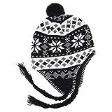 MAROK-INERIE - Gorro Peruano Chullo ch'ullu con pompn Unisex Negro y Blanco Talla nica