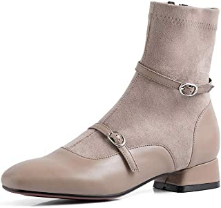 YSLBY Boots and Booties for Women,Socks Boots Autumn and Winter Models Short Boots Stitching Belt Buckle Stretch Boots Thick with Side Zipper Short Tube Women's Boots