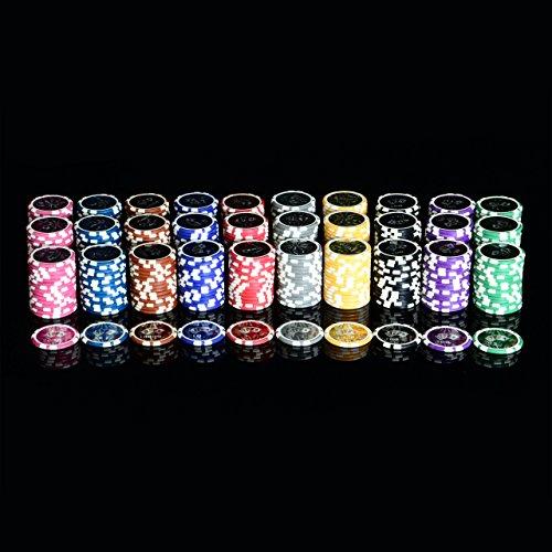 Pokerkoffer 1000 abgerundete OCEAN CHAMPION CHIPS hochwertige Metallkern Jetons 12 g Pokerset 3 Pokerdecks Aluminiumkoffer Black Jack Texas Holdem - 6