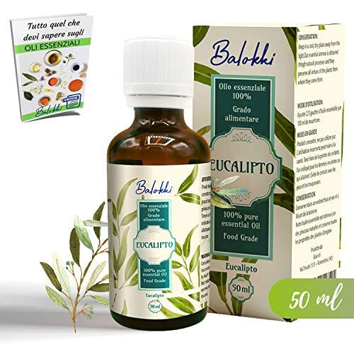 Olio Essenziale Eucalipto + Ebook Incluso • MADE IN ITALY • 100% Puro e Naturale • Aromaterapia e Diffusore • Per Capelli, Viso e Massaggio • Grado Alimentare • Calmante e Purificante • Vetro 50 ml
