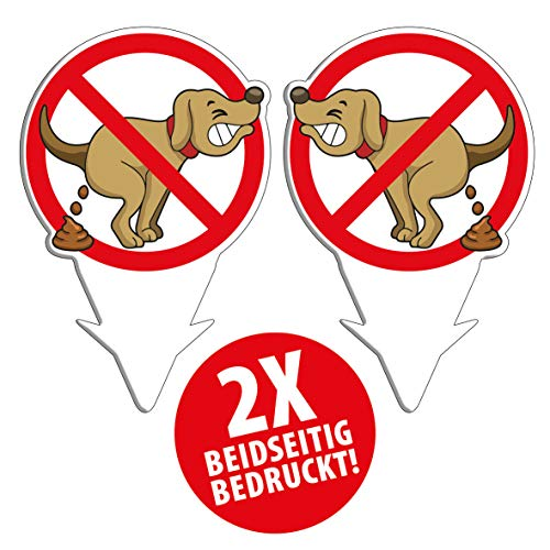 PICO signs Hochwertige Schilder (2er Set) aus Alu-Dibond Hier kein Hundeklo Steckschild 200 x 130 mm Freiform | Hundekot, Hundehaufen |