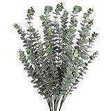 5 Plantas Artificial de eucaliptos Secos Artificiales Decoración Hojas con 3 Ramas para baño Sala de Estar Fiesta en casa Boda 74cm