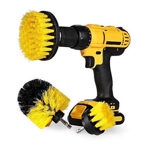 JINYJIA Drill Brush Attachment Set, 3 Pieces Power Scrubber Brush Cleaning Kit All Purpose Drill Brush for Bathroom, Pool Tile, Flooring, Kitchen, Automotive, Corners, Carpet - Fits Most Drills