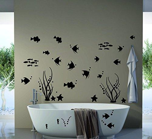 Wandtattoo Fliesenaufkleber Fische Meerestiere schwarz