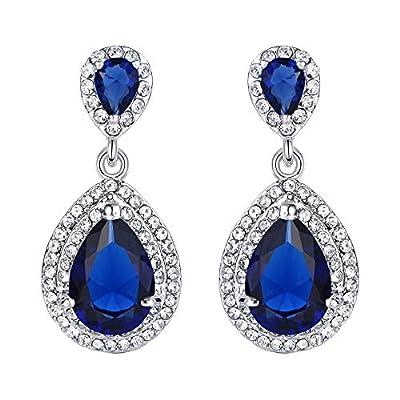 EVER FAITH Women's Austrian Crystal Cubic Zirconia Tear Drop Dangle Earrings Sapphire Color Silver-Tone