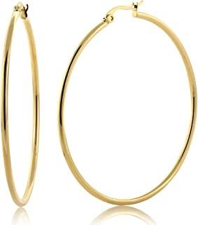 2inches Stunning Stainless Steel Yellow Gold Plated Hoop Earrings (50mm Diameter)