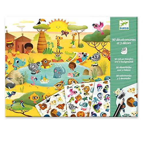 Djeco/Décalcomanies : Savane, désert, pôle Nord, Multicolore