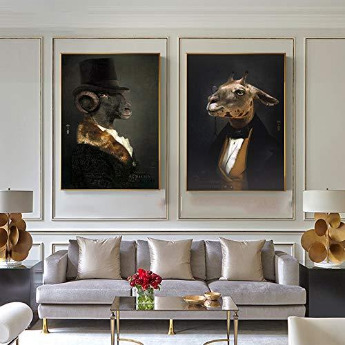 SDFSD Kreative Wandkunst Retro Nostalgie Gentleman Ölgemälde Tierplakate Druck Leinwand Malerei Wohnzimmer Mode Wohnkultur 30 * 40cm