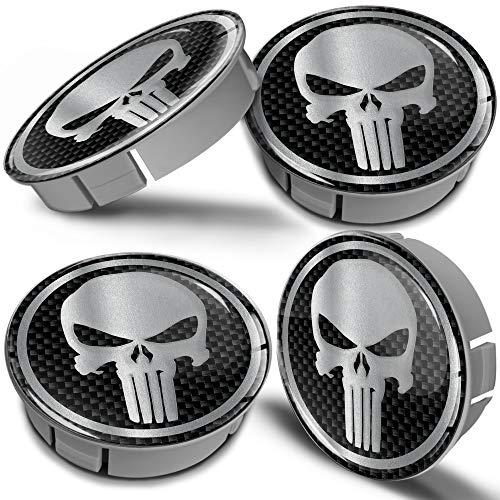 Biomar Labs® 4 x 60mm Coprimozzo Copricerchi Tappi Ruote Auto Logo Stemma Universale Tuning Argento Cranio Punisher Teschio Silver Skull CS 1