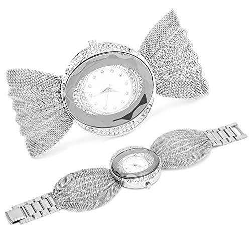 Eosnow Reloj de Cuarzo para Mujer, Reloj de Pulsera Moda con un Rendimiento Estable para Mujer para Fiestas(Plata)