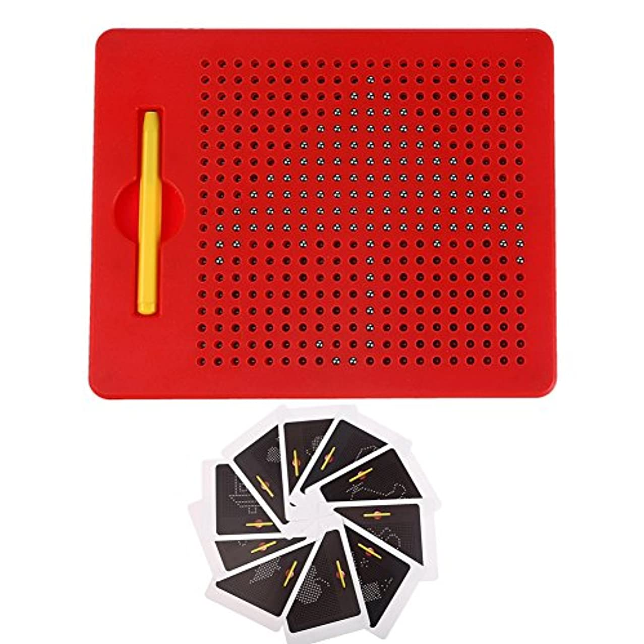 Free Play Magnapad Magnetic Drawing Board Tablet Writing Pad for Kids with Stylus and 10pcs Cards(Small, Red)