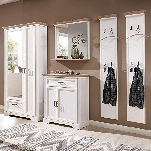 Lomadox Landhaus Garderoben Komplett Set in Pinie weiß mit Artisan Eiche inkl. 2 Garderobenpaneele