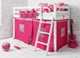 Noa and Nani - Ontario <span class='highlight'>Mid</span><span class='highlight'>sleeper</span> Junior Shorty Cabin <span class='highlight'>Bed</span> with Pink Tent - (White)