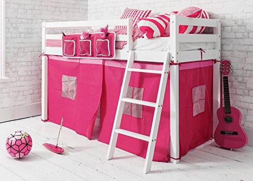 Cama de cabina alta infantil con tienda de campaña rosa en color blanco