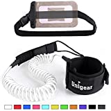 Unigear Premium 10' Coiled SUP Leash (11 Colors) Inflatable Paddle Board Surfboard Leash with Waterproof Wallet (White-New)