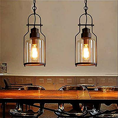 """SUSUO Lighting 6"""" Wide Vintage Industrial Glass Pendant Ceiling Hanging Light with Cylinder Glass Shade,Antique Copper Finish"""