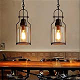 SUSUO Lighting 6' Wide Vintage Industrial Glass Pendant Ceiling Hanging Light with Cylinder Glass Shade,Antique Copper Finish