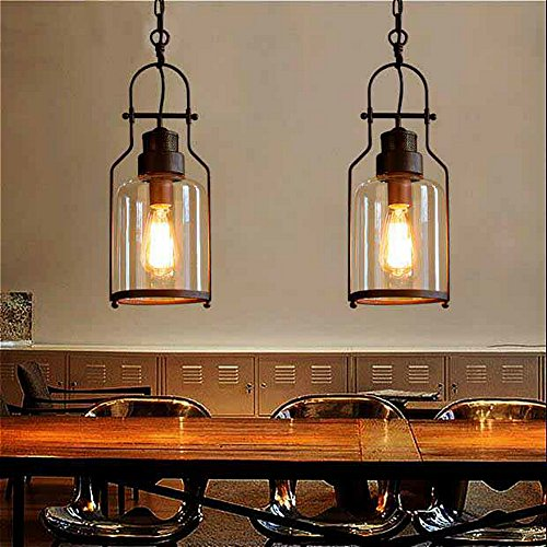 "SUSUO Lighting 6"" Wide Vintage Industrial Glass Pendant Ceiling"