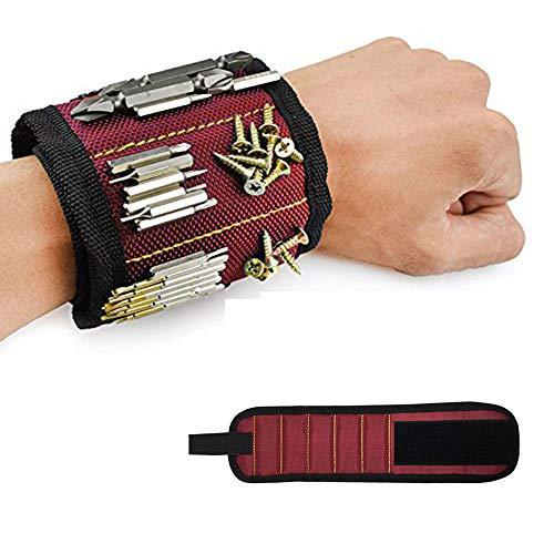 Pulsera magnética con 10 imanes fuertes para tornillos de mantenimiento, clavos, tornillos, tijeras, caballetes de perforación, Best Tool, regalo para bricolaje de mano, hombres y mujeres