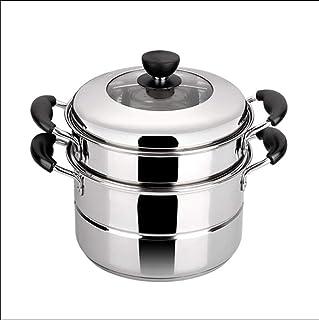 WSJ - Batería de cocina de acero inoxidable, olla de vapor para camping, barbacoa, colador y cesta de vapor (tamaño: 28 x 28 x 26 cm)