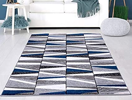 Navy Blue Silver Grey Bricks Design Small Medium Xx Large Rug New Modern Soft Thick Carved Carpet Non Shed Runner Bedroom Living Room Area Rug Mat 160 X 225 Cms Amazon Co Uk Kitchen