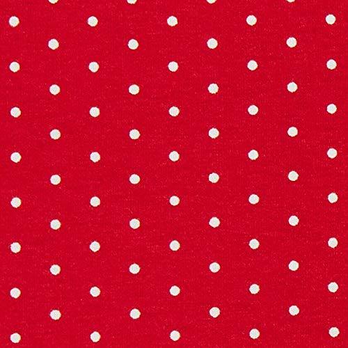 Fabulous Fabrics Jersey rot, Punkt, 150cm breit – zum Nähen von Oberkleidung, Hosen und T-Shirts - Meterware erhältlich ab 0,5 m