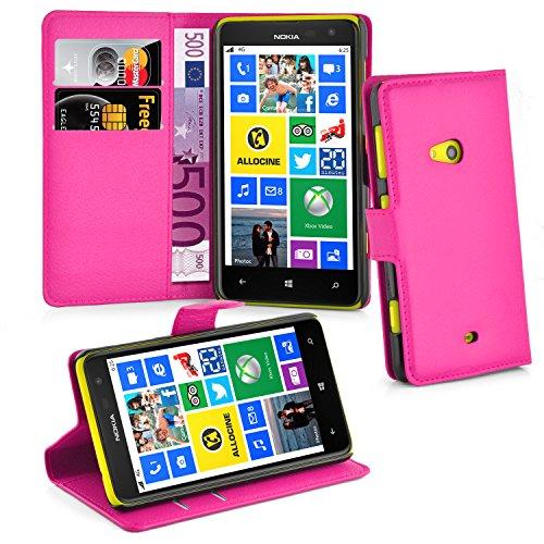 Cadorabo Hülle für Nokia Lumia 625 - Hülle in Cherry PINK – Handyhülle mit Kartenfach & Standfunktion - Hülle Cover Schutzhülle Etui Tasche Book Klapp Style