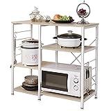 sogesfurniture 3-Tier+3-Tier Kitchen Baker's Rack Utility Storage Shelf Microwave Stand 35.4 Inches Storage Cart Workstation Shelf,White Maple BHUS-171-MO
